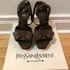 Saint Laurent Brown Bow Stiletto Sandals Platforms
